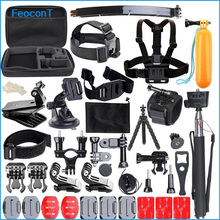 FeoconT Accessories Set Helmet Harness Chest Belt Head Mount Strap Monopod For Go pro Sports Action Camera Accessories Kit