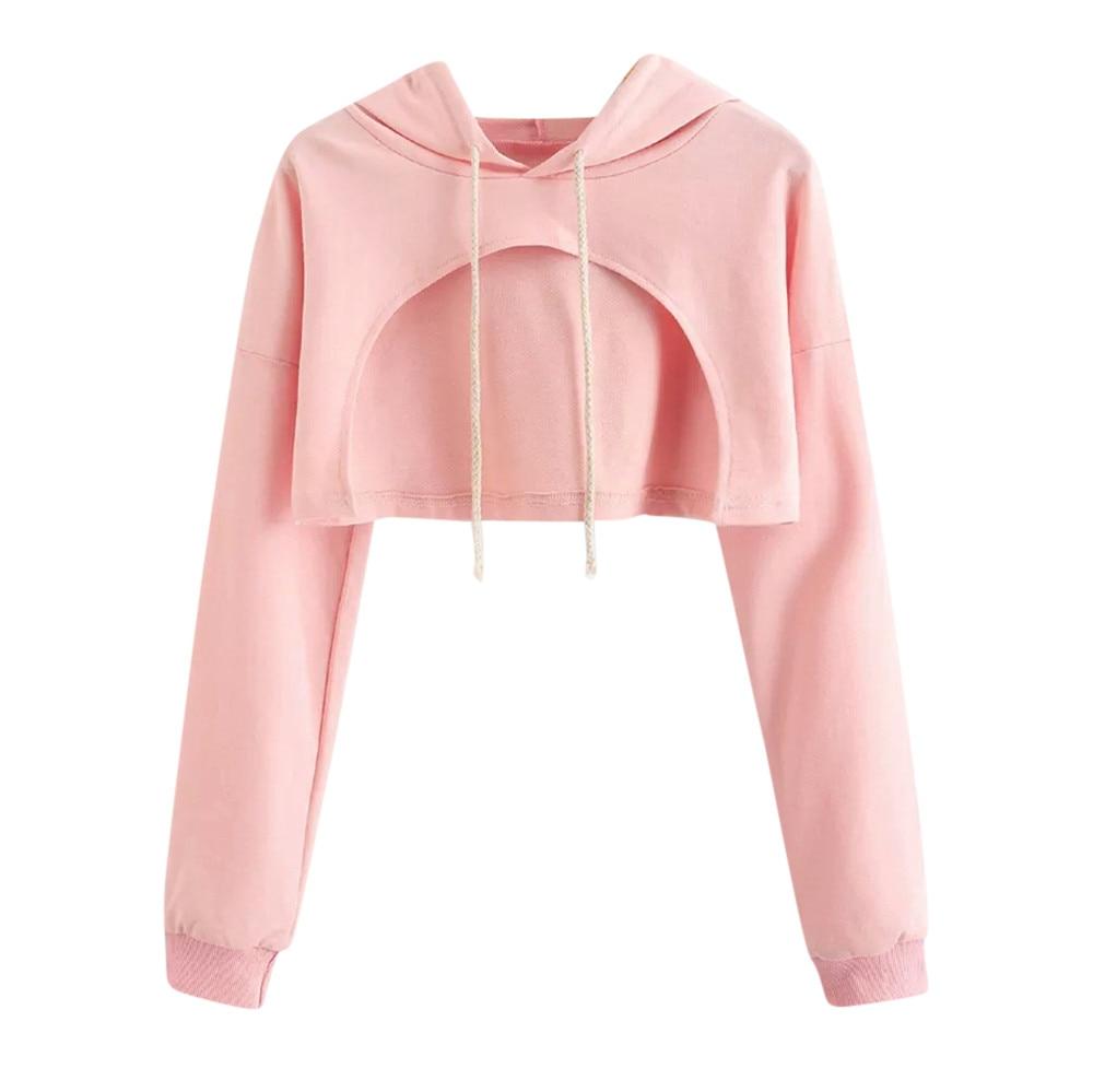 hoodies sweatshirt women 2018 Women Casual Drop Shoulder Cut Out Crop Hoodie Top Blouse