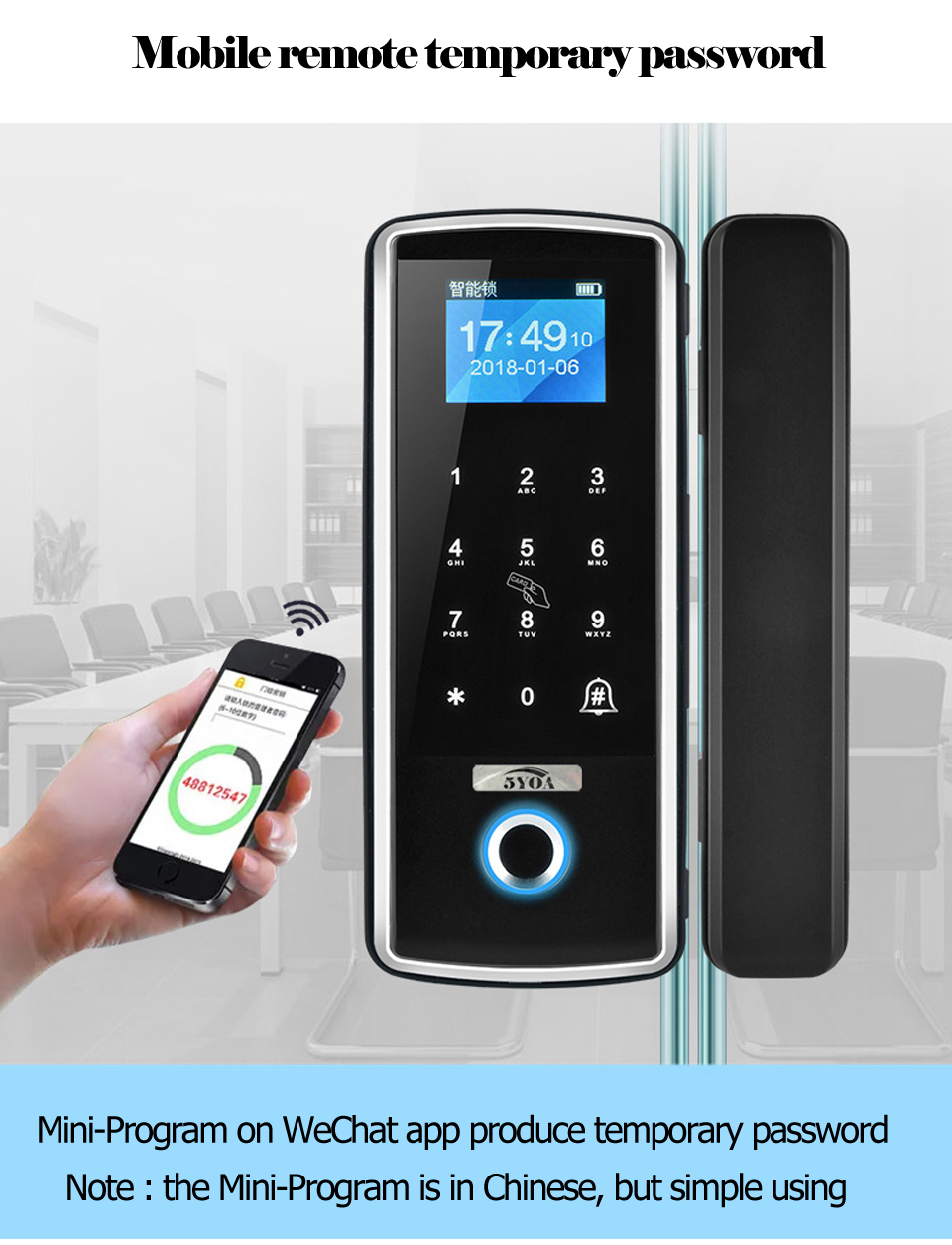 HTB1JyeDaMFY.1VjSZFnq6AFHXXak Smart Door Fingerprint Lock Electronic Digital Gate Opener Electric RFID Biometric finger print security Glass Password Card
