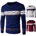 Mens Autumn Winter Pullover Sweaters 2016 Long Sleeve Knitted Christmas Outerwear 0 Neck Pullovers Herren Patchwork Coarse Wool