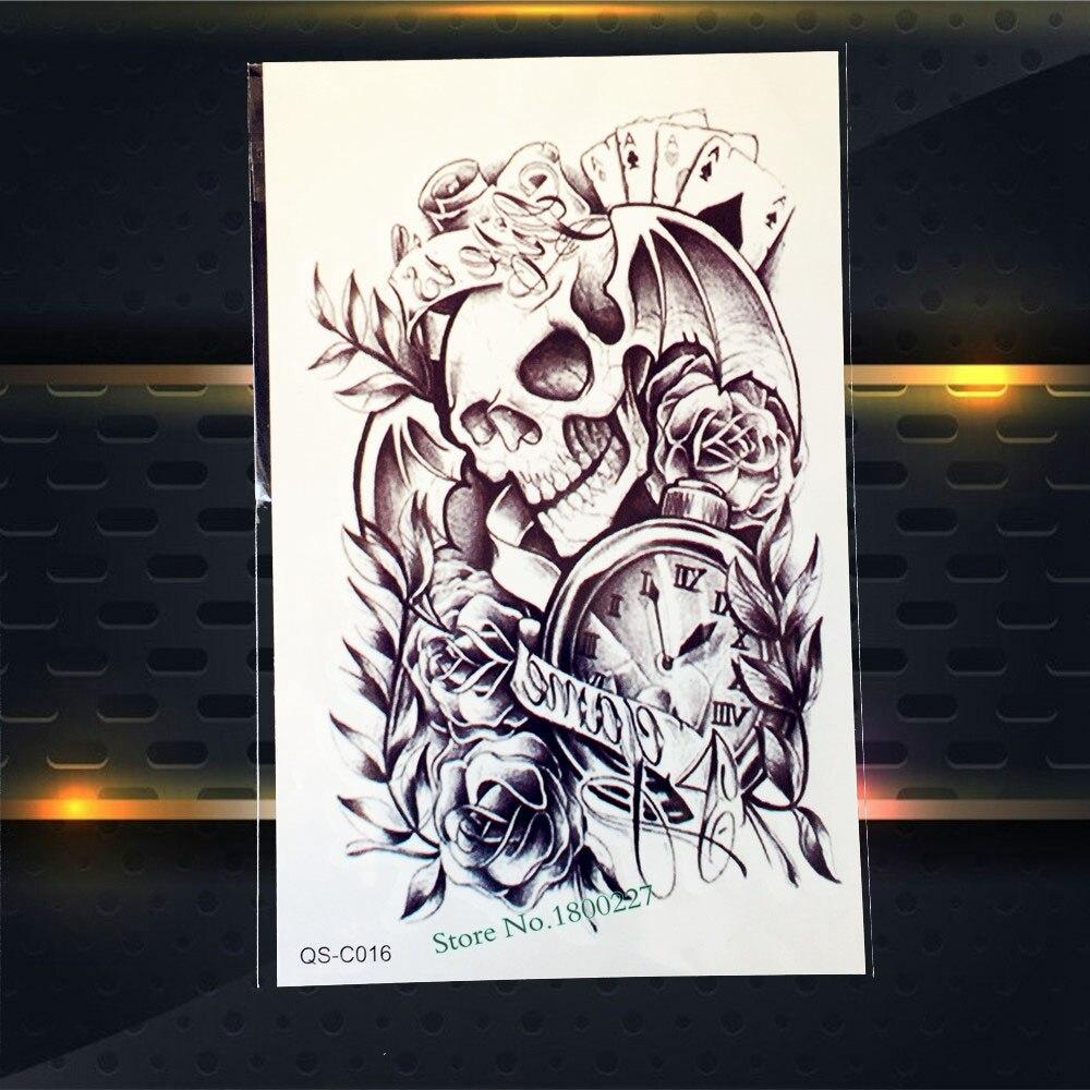 1PC Halloween Makeup Large Arm Sleeve Tattoo Skull Poker Colock Rose Design Body Art Waterproof Henna Temporary Tattoo Stickers