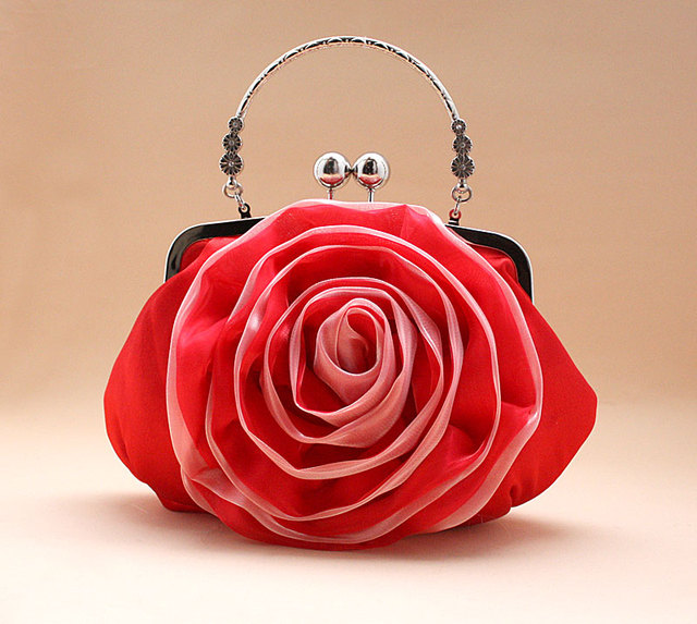 Flowers clutch handbag evening bag ladies
