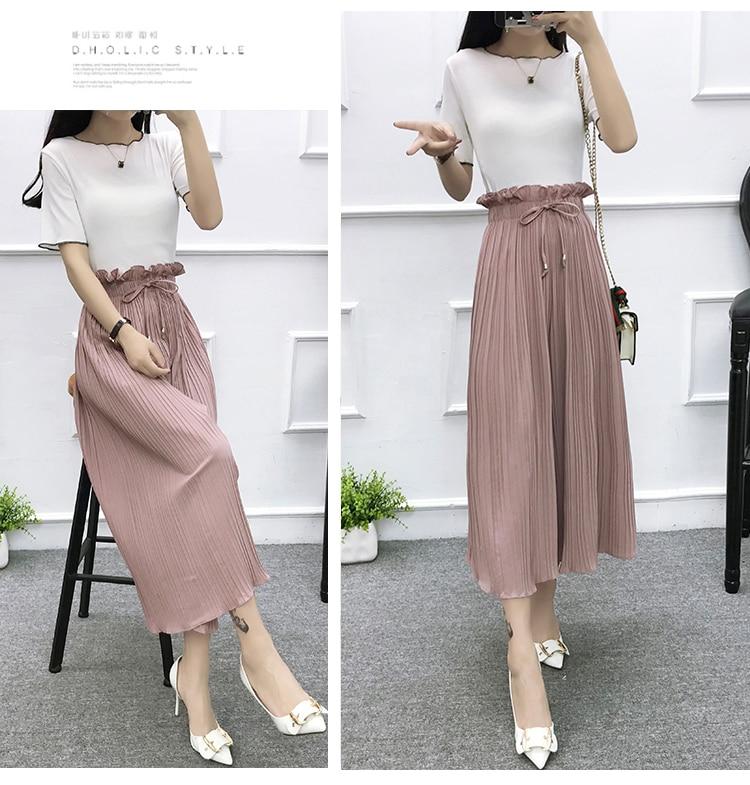 2019 Summer High Waist Lace Up Waist Pleated Pants Women Loose Wide Leg Chiffon Pants Lady Lace Up Waist Ankle Length Pants 37