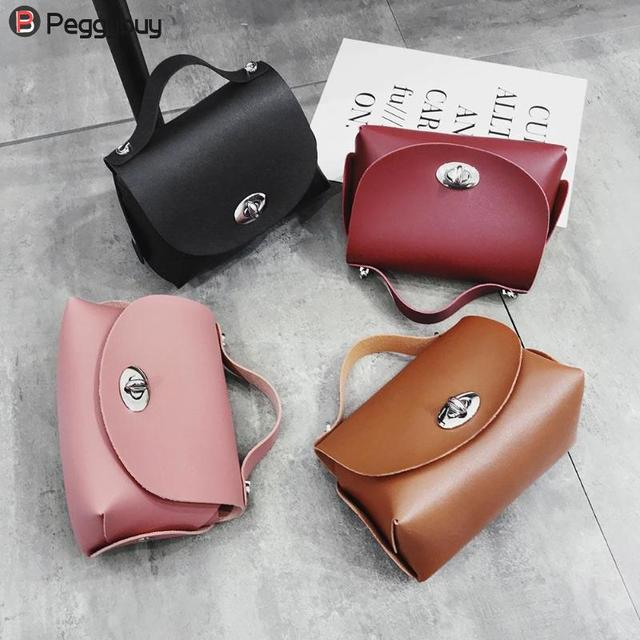 3b9145d269 Simple Women PU Leather Bag Girls Pure Color Mini Messenger Crossbody Bags  Lady Travel Bag Crossbody Bags