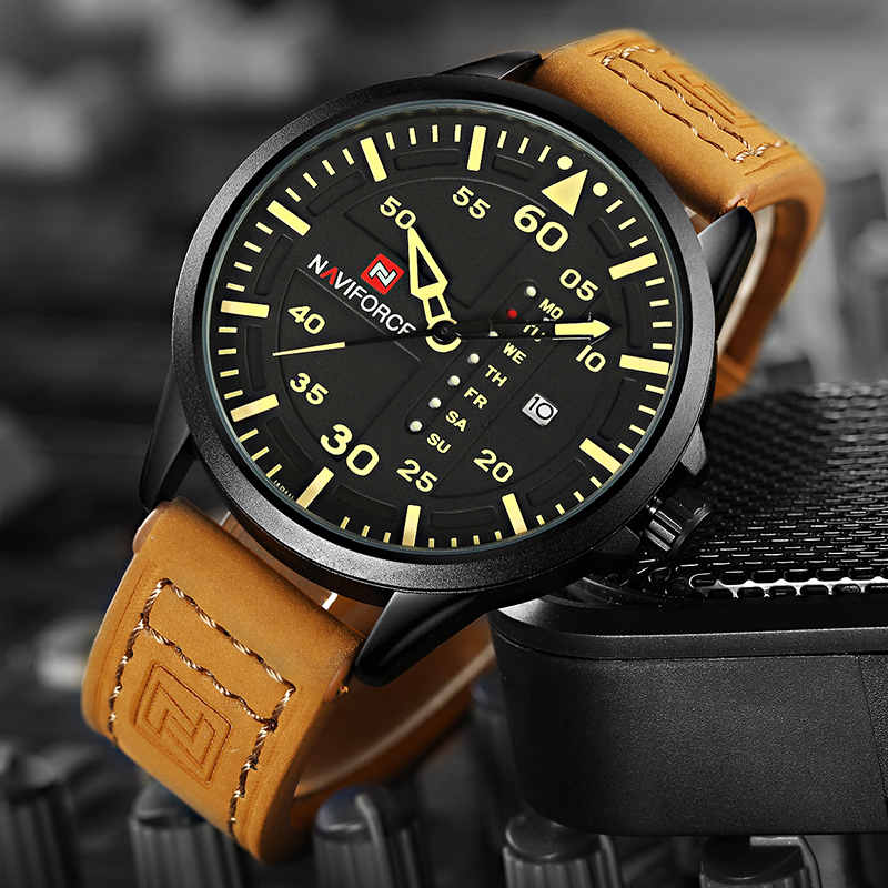 NAVIFORCE Luxury Brand Men Army Military Watches Men's Quartz Date Clock Man Leather Strap Sports Wrist Watch Relogio Masculino 2016 men s brand naviforce fashion sports watches men 3d dial quartz watch man nylon strap army military wrist watches