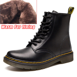 QUANZIXUAN Genuine Leather Women Boots Dr Martin Boots Winter Work Safeti Boots Solid Ankle Boots Female Punk Women Shoe Size 46
