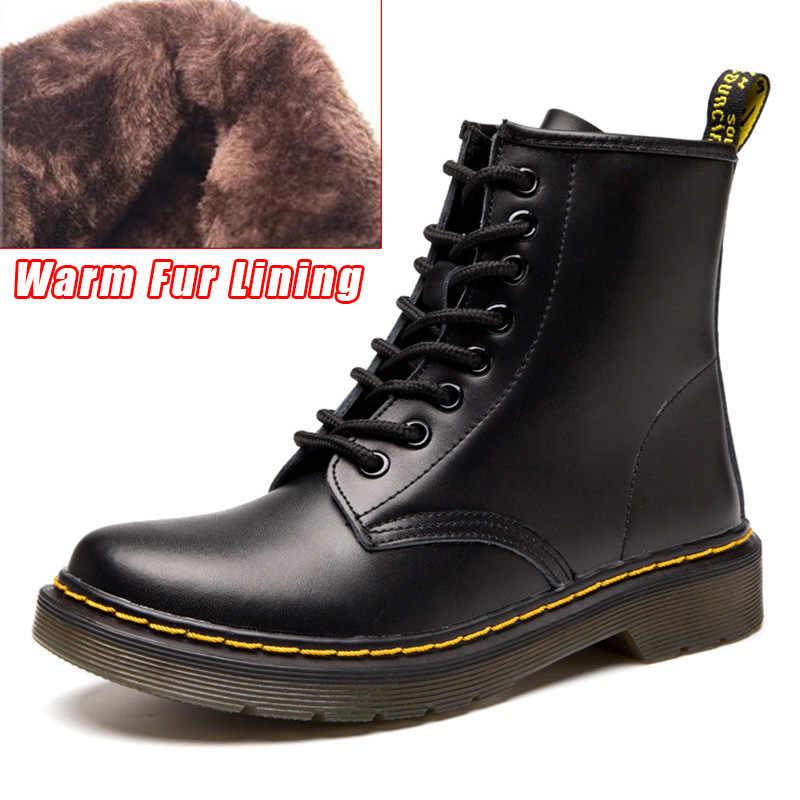 Quanzixuan botas de couro genuíno dr botas de tornozelo inverno trabalho safeti botas de tornozelo sólido feminino punk feminino sapato tamanho 46