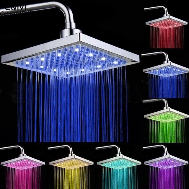 8 inch badkamer regendouche vierkante rvs led licht douchekop zilver 7 kleuren veranderen