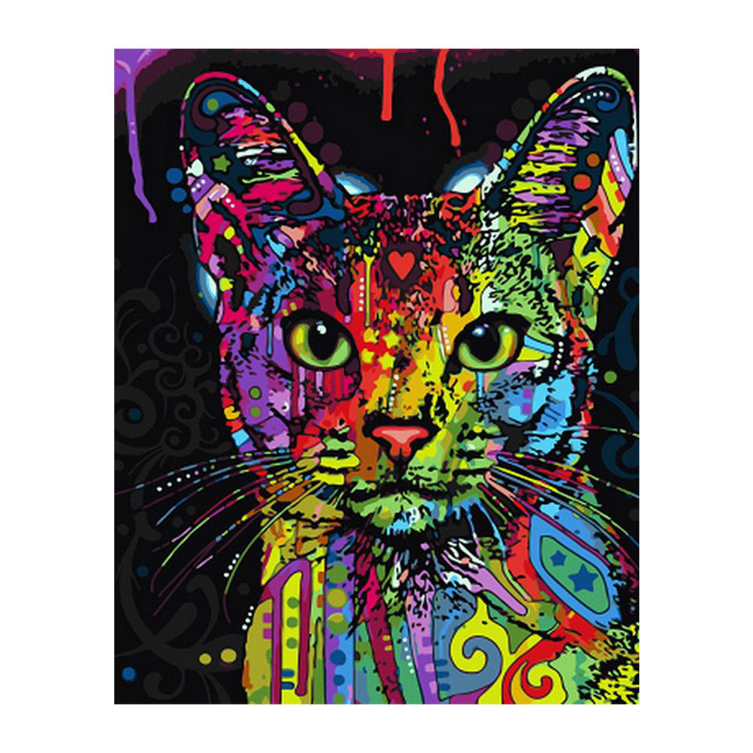 Sale Framed Picture Painting By Numbers Abstract Animal Cat DIY Oil Painting On Canvas Home Decoration For Living Room 40*50cm