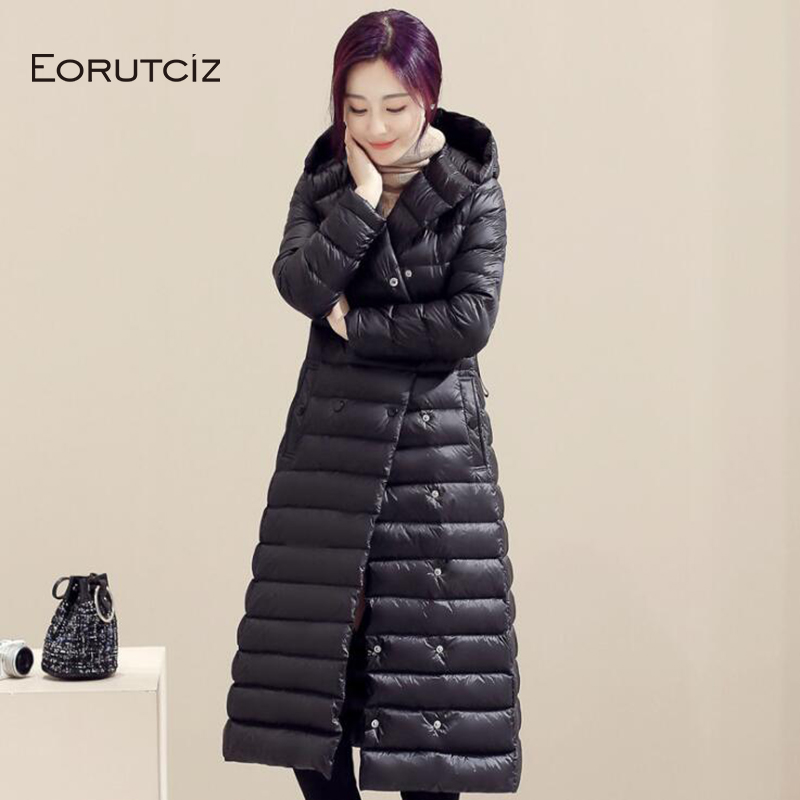 EORUTCIZ Winter Plus Size 3XL Long   Down     Coat   Women Hooded Ultra Light Jacket Slim Vintage Black Autumn Casual   Coat   LM368
