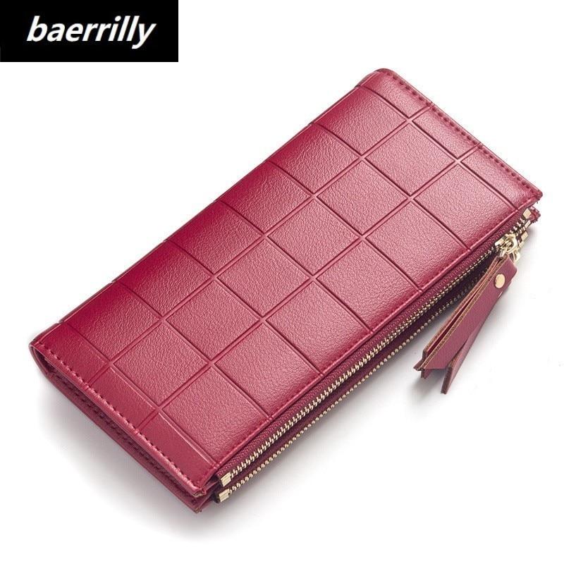 Women Plaid PU Leather Slim Wallets Long Multiple Cards Holder Clutch Purse Female Original Leather Solid Wallet Designer