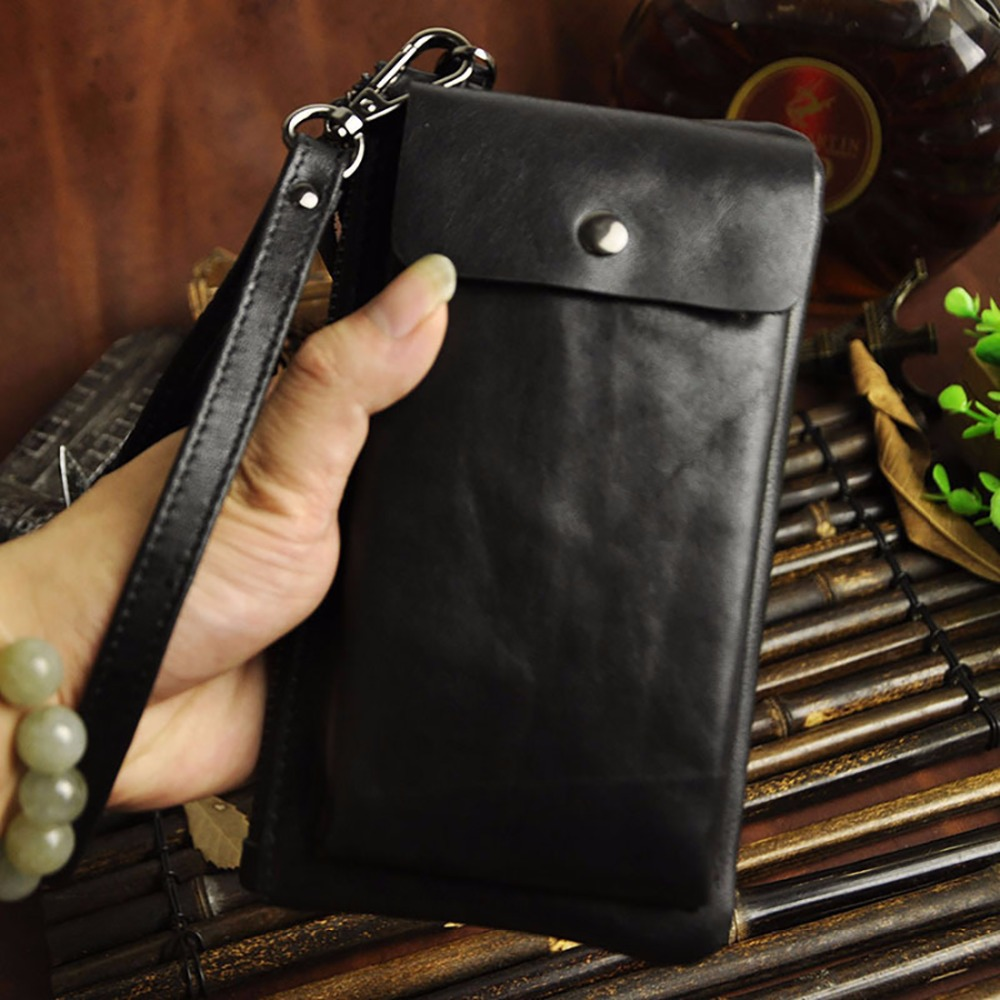 New Men Real Genuine Leather Clutch Bag Famous Brand Male Purse Cell Phone Card Holder Money Bags Oil Wax Cowhide Long Wallet