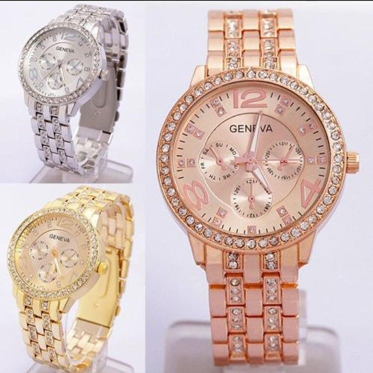 Clock Watches Dress Rose-Gold Women Casual Analog Quartz Rhinestone Hours Ladies