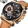 Watch Men Top Brand LIGE Luxury Quartz Clock Mens Watches Sports Chronograph Leather Waterproof Fashion Watch