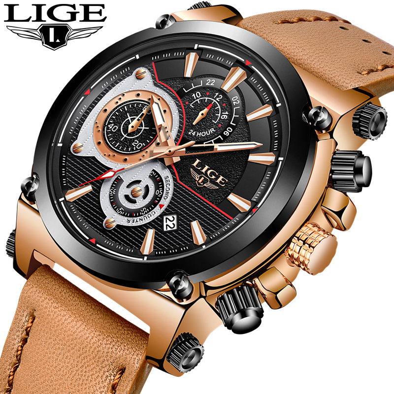Watch men Top Brand LIGE Luxury Quartz clock mens Watches Sports Chronograph leather Waterproof fashion Watch relogio masculino