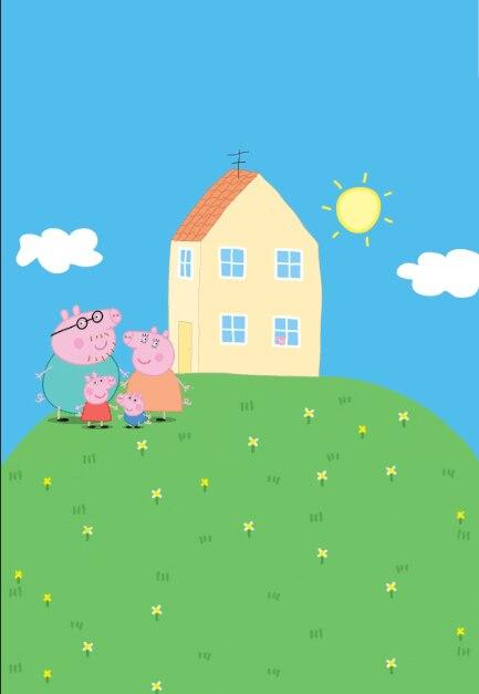 5x7ft cartoon pig blue sky house green garden grass - Pig wallpaper cartoon pig ...