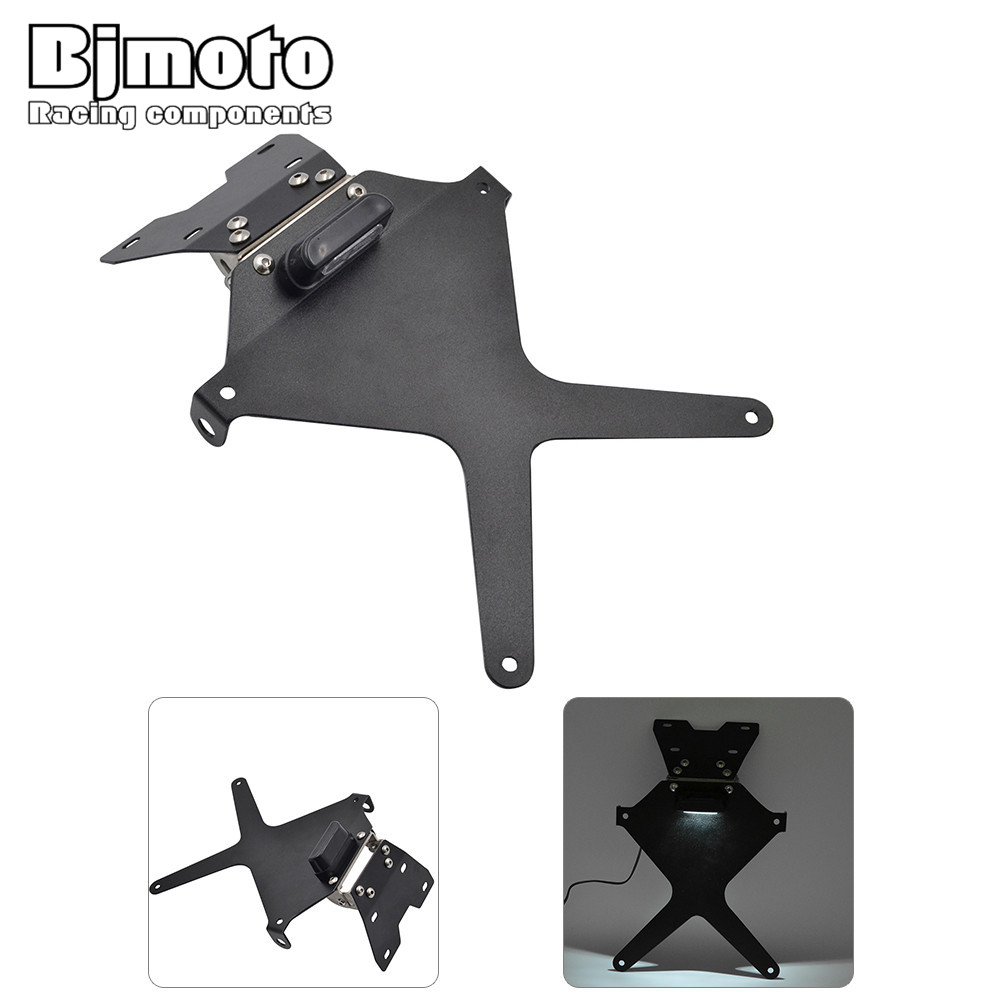 Bjmoto For Yamaha MT09 MT-09 2014 2015 2016 Aluminum Motocross Motorcycle Number License Plate light Mount  Adjustable Bracke for yamaha mt 07 mt 07 fz07 mt07 2014 2015 2016 accessories coolant recovery tank shielding cover high quality cnc aluminum