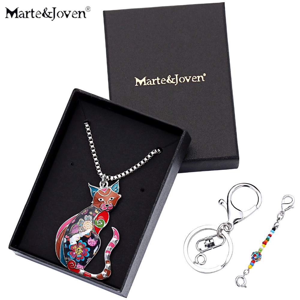 Marte Joven Personalized Animal Pendant Jewelry Women Cat Necklace Pendants Used as Keychain Unique Birthday Gift