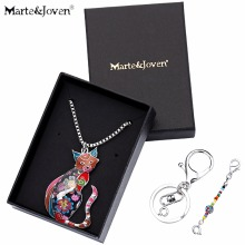Marte&Joven Personalized Animal Pendant Jewelry Women Cat Necklace Pendants Used as Keychain Unique Birthday Gift for Cat Lovers