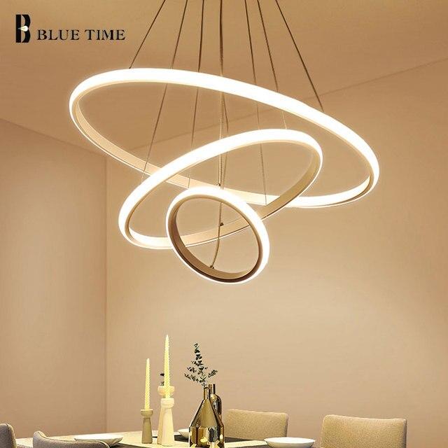 Creative מודרני בית LED עבור סלון חדר שינה אוכל חדר לבן & שחור & זהב & קפה מעגל מסגרת LED נברשות AC 110V 220V