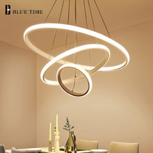Criativo casa moderna led para sala de estar quarto sala de jantar branco & preto & golden & coffee círculo quadro led lustres ac 110v 220v
