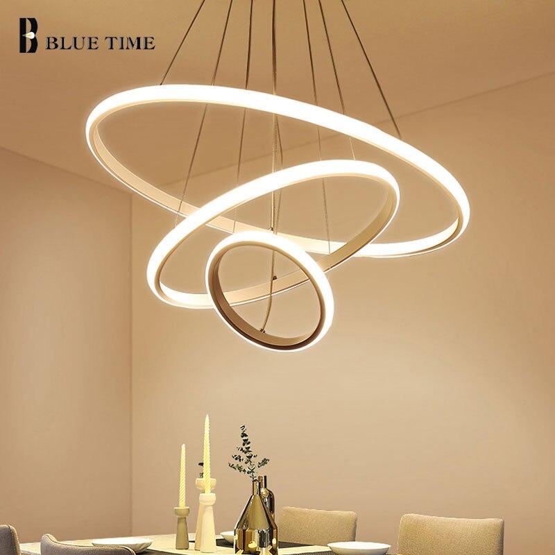 Yaratıcı Modern ev için LED oturma odası yatak odası yemek odası beyaz ve siyah & altın & kahve daire çerçeve LED avizeler AC 110V 220V