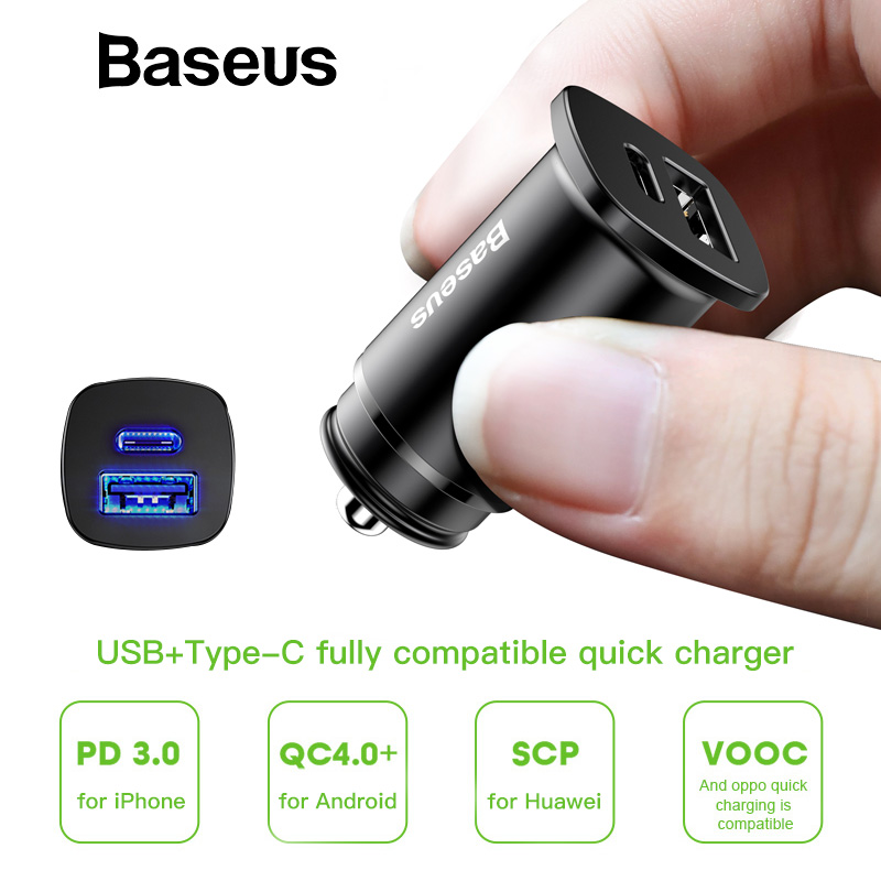 Baseus 30 W Dual USB C de carga rápida QC 4,0 cargador de coche para teléfono móvil cargador USB PD tipo C AFC SCP coche cargador de teléfono
