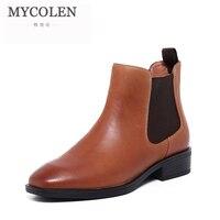 MYCOLEN 2018 осенние ботинки из натуральной кожи Для женщин дизайнер ручной работы на низком каблуке Повседневное ботильоны; женская обувь сайту