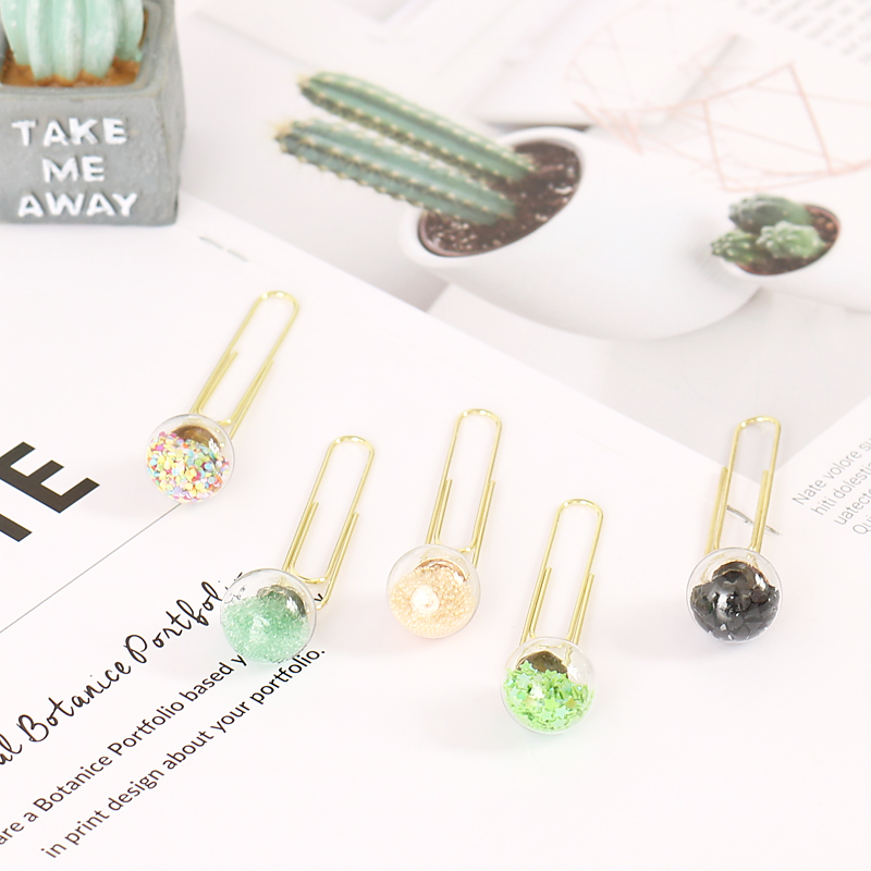 TUTU 5pcs/box Glass ball Paper Clips De Papel Notes DIY Bookmark Metal Binder Clips Fish Clips Notes Letter Paper Clips H0164 6