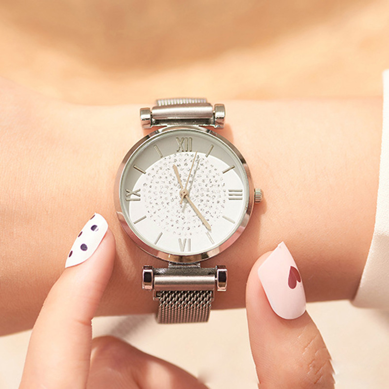Women Silver Watch Minimalist Style Watch Female Quartz Magnet Wristwatches Drop Shipping Waterproof Clock Relogio Feminino 2019