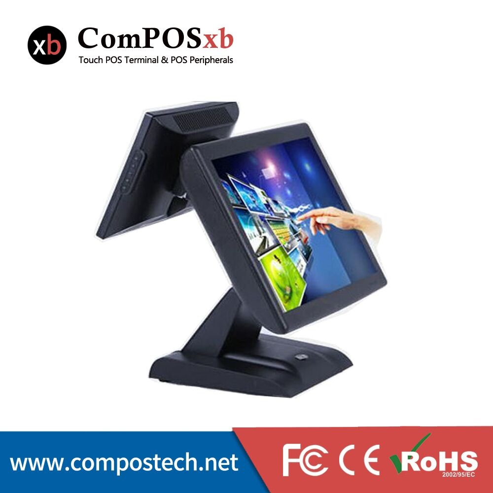 Commercial sales terminal POS double contacts 15 inch cash register and WINDOWS operating system factory direct selling price