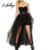 Hodoyi sexy negro mesh tutu faldas moda asimétrico de cintura alta una línea de mini falda ropa de otoño partido balón vestido de falda de las mujeres