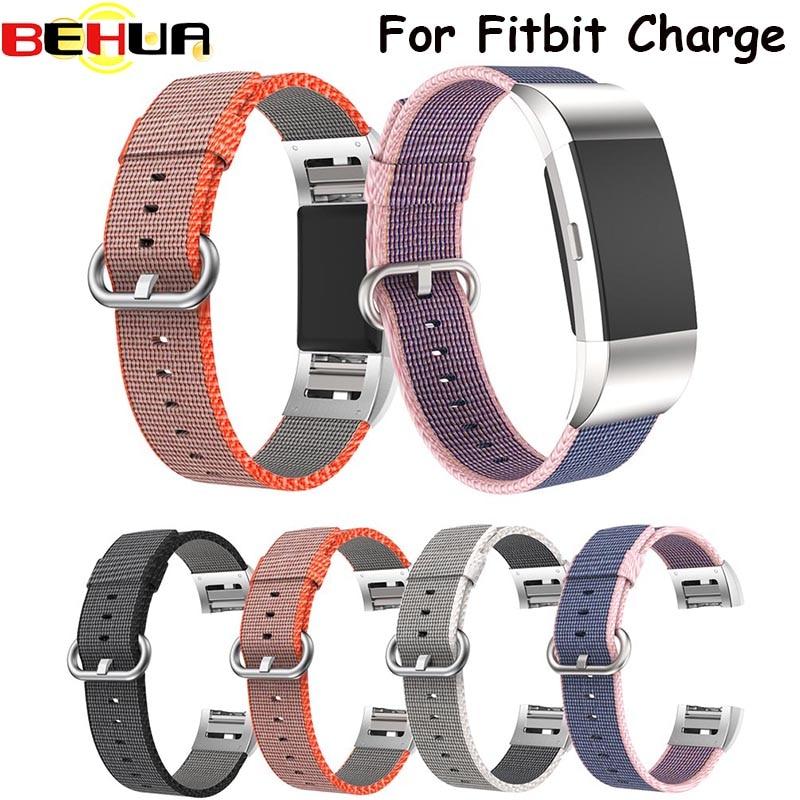 Mode Bunte Nylon Uhrenarmbänder Für Fitbit Ladung 2 HR Strap Bands Metallstecker Für Fitbit Charge2 HR uhrenarmband neueste