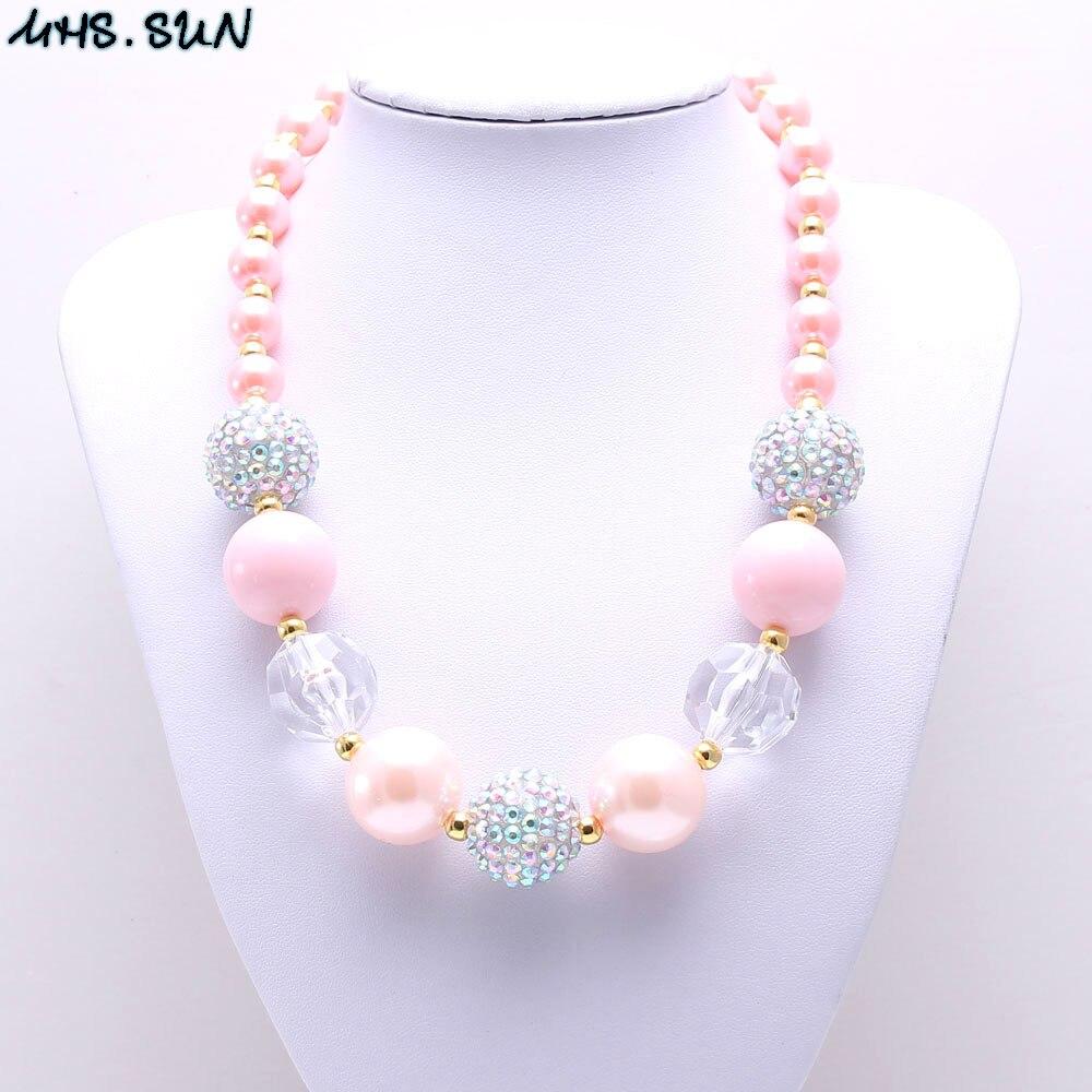 Массивное ожерелье MHS.SUN 1 шт./лот, модное Персиковое розовое детское ожерелье с бусинами для девочек, детские ювелирные изделия