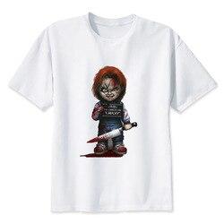 Chucky T Shirt mężczyźni wysokiej jakości fajne Streetwear mężczyźni T-shirt na co dzień Horror Tshirt Chucky drukuj O-Neck mężczyzna odzież 2