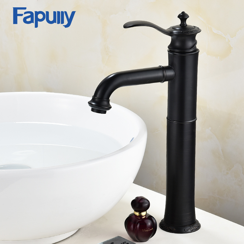 Fapully Basin Faucet Water Tap ORB Bathroom Sink Mixer Tap Single Handle Bathroom Vanity Hot and Cold Water Tall Black Faucets beelee modern bathroom products chrome and black hot and cold water basin faucet mixer single handle torneira water tap bl6601bh