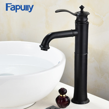 Fapully Basin Faucet Water Tap ORB Bathroom Sink Mixer Tap Single Handle Bathroom Vanity Hot and Cold Water Tall Black Faucets цена 2017