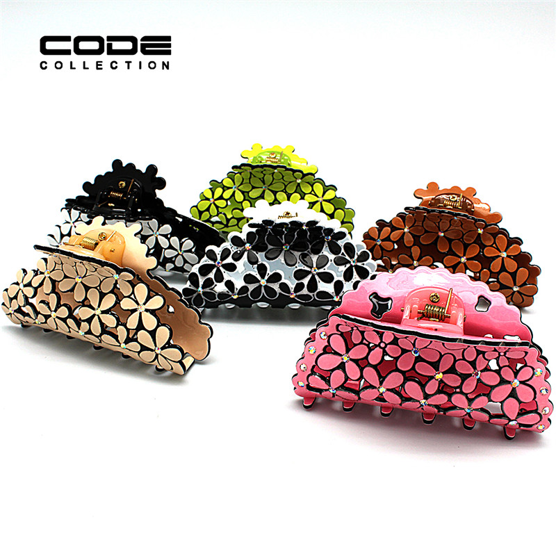 6 Color Brand Acrylic Hair Claws for Women 2017 Summer Cutout Floral Hair Clips Accessories for Women A80-A85