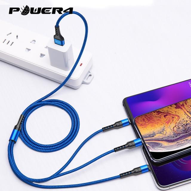 Power4 cep telefonları için USB kabloları 3 in 1 için iPhone şarj kablosu için USB C tipi yıldırım mikro USB kabloları için Android şarj