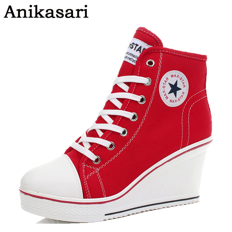 Women Wedges Badge High Top Platform Shoes Woman Canvas Shoes White Red Casual Trainers Elevator Shoes
