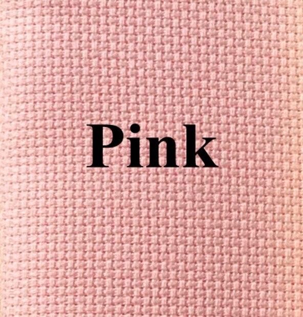 50x60cm Aida 14ct white cloth pink black flaxen green cross stitch fabric canvas DIY handmade needlework sewing craft supplies Pink, 50x60cm