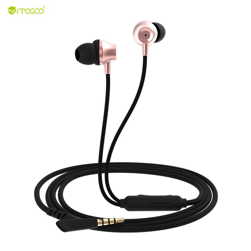 Original MOGCO In Ear Earphone Bass Sound Stereo Earplug Portable Headset with Mic For iphone 6 /7 xiaomi redmi 4 pro smartphone rock y10 stereo headphone earphone microphone stereo bass wired headset for music computer game with mic