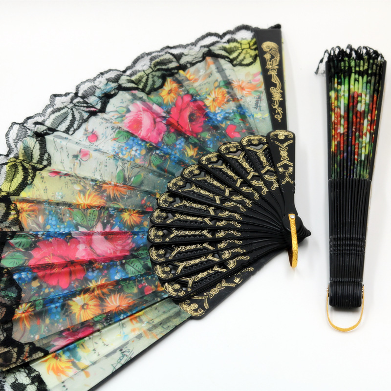 Schwarz Tuch Spitze Falten Hand Fan für Frau Home Decor Hochzeit Veranstaltungen Partei Liefert Geschenk-in Dekorative Lüfter aus Heim und Garten bei  Gruppe 2