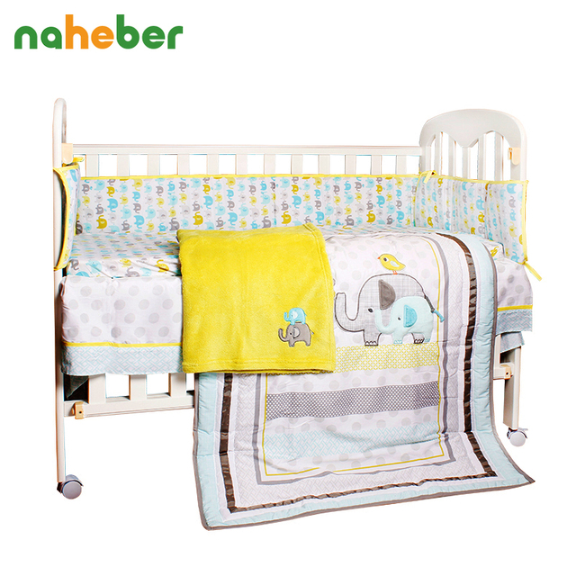 8pcs Baby Crib Bedding Newborn Baby Bedding Set Cute Cartoon Elephant Bumpers/Quilt/Fitted Sheet/Bed Skirt/Blanket for Cot