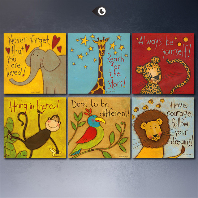 6 piece canvas painting oil painting modern cartoon for Canvas painting for kids room