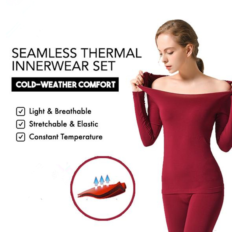 Seamless Thermal Innerwear Set Ultra-thin High Elasticity Heat Underwear Tops Thermal Underwear Bottoms