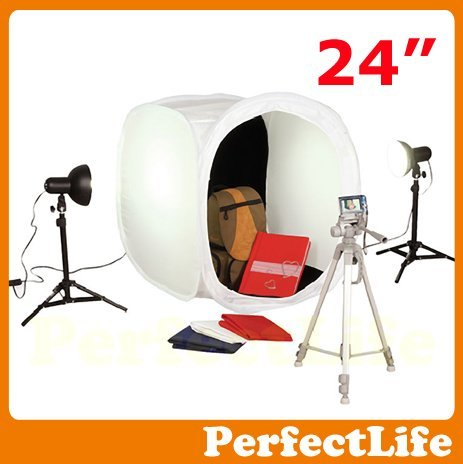 "24"" 60cm Photo Studio Light Tent Box Kit, 2 light stands,1 Tripod,4 color backgrounds hot sale A042AZ002"