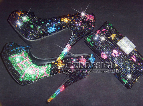 Black Prom Shoes with Crystals