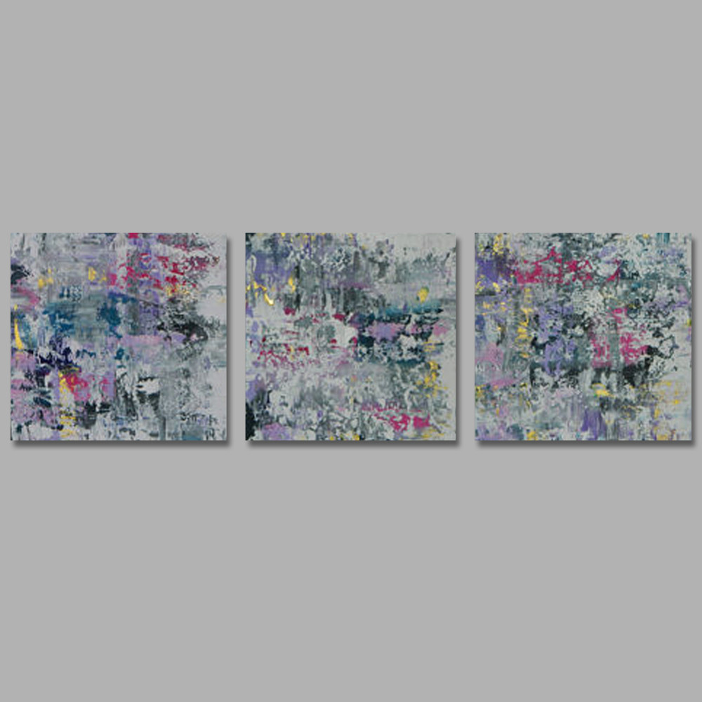 Modern Abstract Paintings 3 Pieces Unstretchered Digital Oil Painting Blue Art Decor
