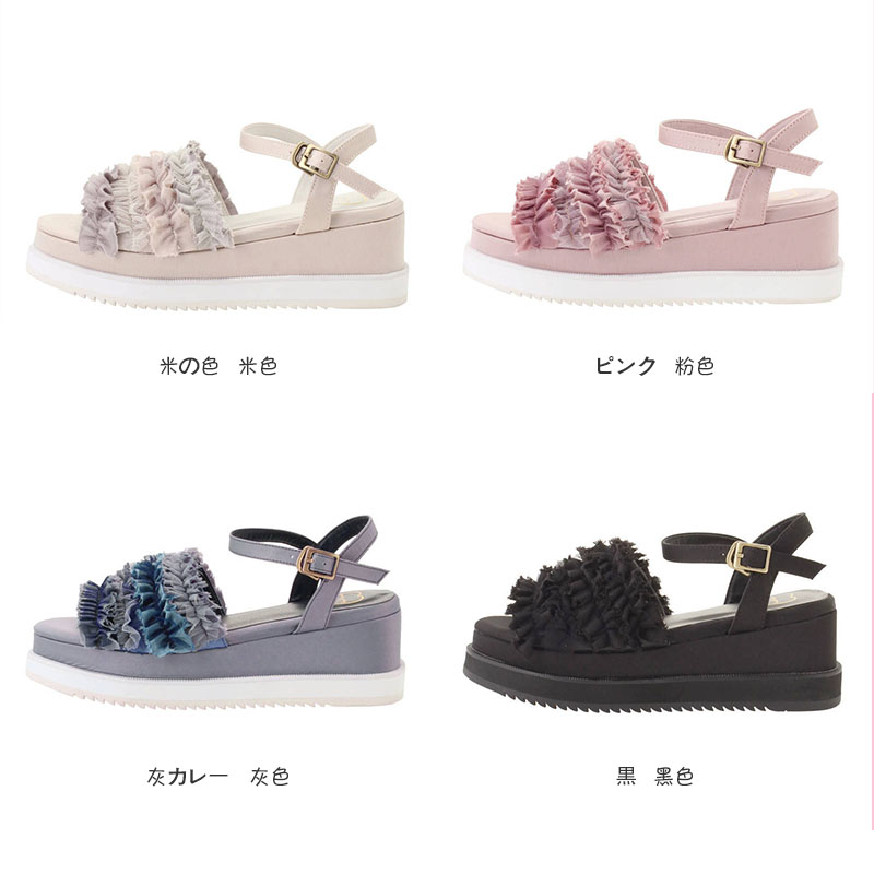 Japans New Lolita Shoes, Womens Muffins, Thick Bottomed Waterproofing Table, Sloping Sandals, Lace Sandals, And Sweet Shoes.